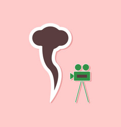 Paper sticker on stylish background tornado camera vector