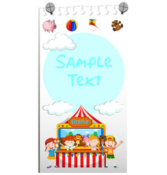 paper template with kids playing puppet vector image