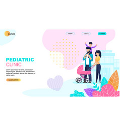 Pediatric clinic landing page medical template vector