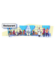 people visitors sitting at restaurant tables vector image