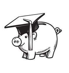 piggy bank in graduation hat vector image