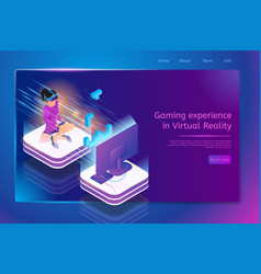 playing games in virtual reality concept vector image