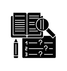 Reading examination black glyph icon vector