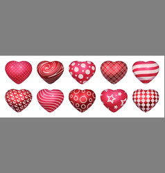 realistic heart shaped balloons 3d red glossy vector image