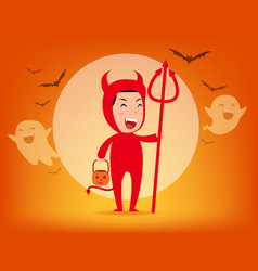 red devil halloween costume concept cute vector image