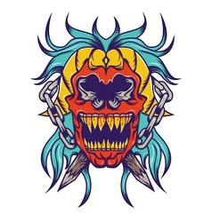 Red skull with bloe hair tatoo design vector