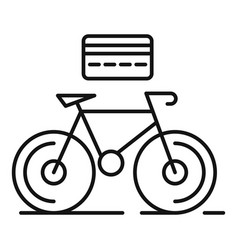 Rent bike credit card icon outline style vector