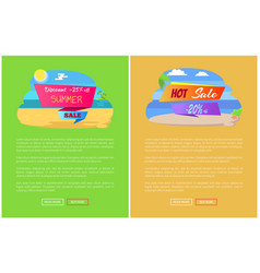 sale for summer journey abroad promo posters set vector image