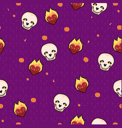 Seamless pattern with skulls hearts and flowers vector
