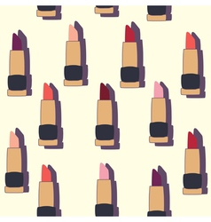 Seamless patterns with flat lipsticks vector image
