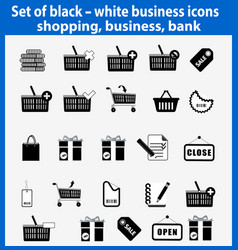 set beautiful black and white business icons vector image