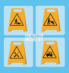 set construction roadsigns icons vector image