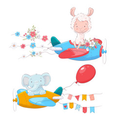 Set cute cartoon animals lama and an elephant vector