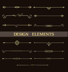 Set decorative vintage golden dividers vector