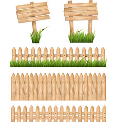 Set of wooden signs and a fences with grass vector image