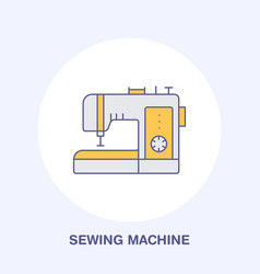 sewing machine flat line icon logo vector image