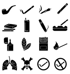Smoking icons set vector