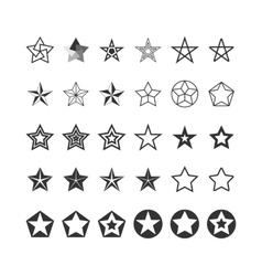 Star Icons Set Black And White vector image vector image