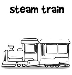 Steam train transport hand draw vector