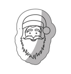 sticker silhouette half body cartoon santa claus vector image