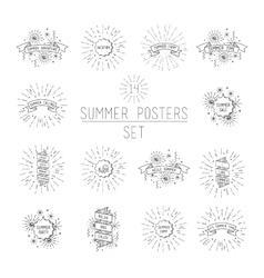 Summer flyer set universal linear flat poster vector