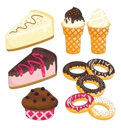 Sweet dessert set cake ice cream donut cupcake vector