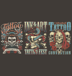 tattoo conventions colorful vintage posters vector image