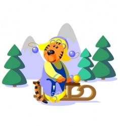 tiger winter color vector image