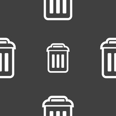 trash icon sign Seamless pattern on a gray vector image