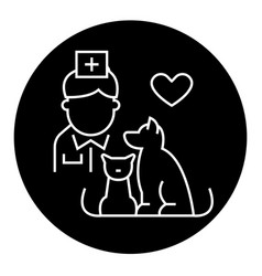 veterinarian with dog and cat black concept vector image