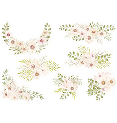 watercolor floral elements set vector image