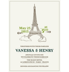 Wedding Invitation Card - Paris Theme vector