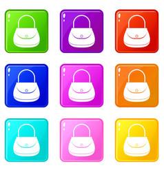 woman bag icons 9 set vector image