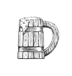 Wooden tankard vector