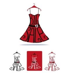 Big Sale lettering on Dress shape on hangerIcon vector image vector image