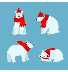 Cartoon cute polar bear animal vector