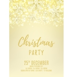 Christmas party flyer with snowflakes vector image