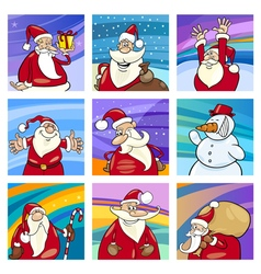 Christmas Santa cards set vector image vector image