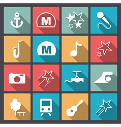 entertainment icons in flat design vector image vector image
