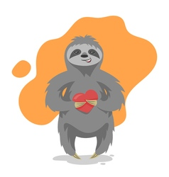 loving happy cute sloth with heart in his hand vector image