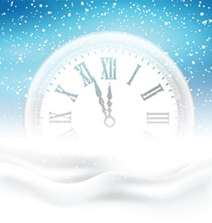 new year clock in snow 1609 vector image