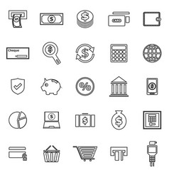 payment line icons on white background vector image vector image
