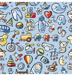 Toys for baby boy seamless pattern for your vector image vector image