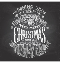 Christmas wishes hand-lettering with chalk vector