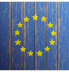 Euro flag painted on old wooden background vector image vector image