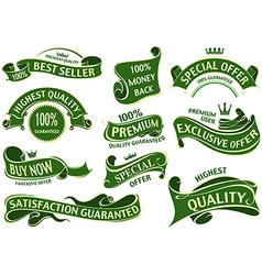 Green Banner Ribbon Set vector image vector image