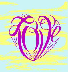 Hand lettering love on grunge brush background vector