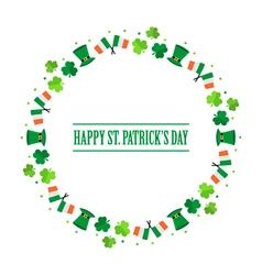 Happy St Patricks Day flat design round frame vector image vector image