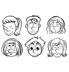 male and female faces with different emotions vector image