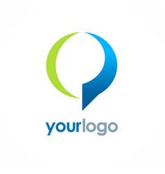 round talk bubble logo vector image